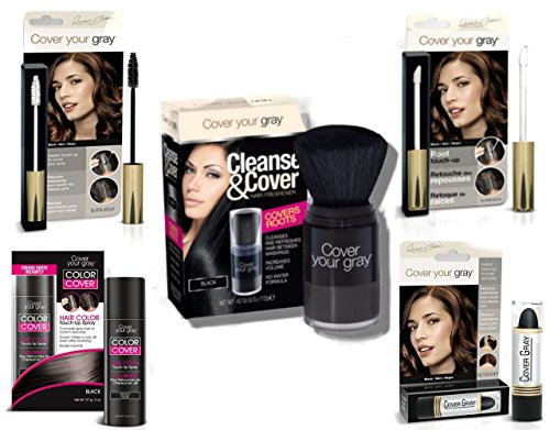 Cover Your Roots - Cover, Cleanse and Refresh: 5 Piece Gray Coverage Set, Black