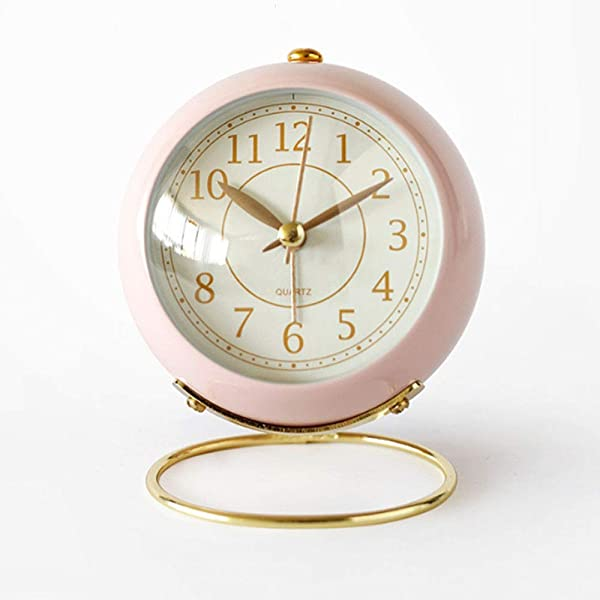 Maxspace Small Table Clocks Battery Operated Classic Non Ticking Alarm Clock Desk Clock With Backlight HD Glass For Kids Bedroom Living Room Kitchen Indoor Decor Pink