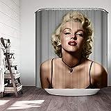 Tbrand 3D Marilyn Monroe Duschvorhang-Set, 183 x 182,9 cm, Schwarz & Grau, Retro-Stoff-Duschvorhang-Einlage, modern, wasserdicht, Polyester, Duschvorhang, Wanddekoration für Badezimmer