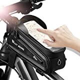 WESTLIGHT Top Tube Bike Bag, Waterproof Bike Pouch, Road Mountain Bike Accessories, Bicycle Frame Bag Phone Holder, Touch Screen Holder Case for iPhone/Samsung/Android Cell Phones Under 7.2''