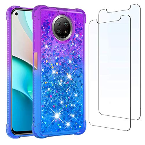 Funda para Redmi Note 9T y [2 Pack] Protector de Pantalla, Glitter Liquida Purpurina Cristal Transparente Carcasa Brillante Arena Movediza Cover para Xiaomi Redmi Note 9T (Púrpura/Azul)