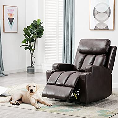 BONZY Recliner Chair Contemporary Theater Seating two Cup Holder Leather Cover Living Room Lounge Chair - Chocolate Brown
