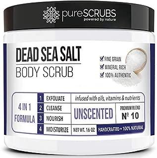 Premium Organic Body Scrub Set - Large 16oz UNSCENTED BODY SCRUB - Pure Dead Sea Salt Infused with Organic Essential Oils & Nutrients + FREE Wooden Spoon, Loofah & Organic Exfoliating Bar Soap