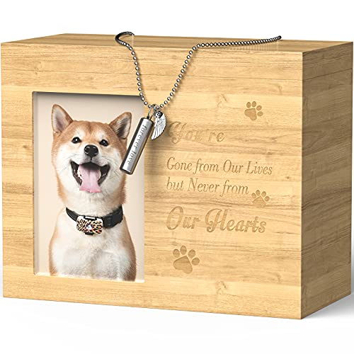 Urnas para mascotas para cenizas de perros, recuerdo de madera, caja de fotos para cenizas de mascotas con marco de fotos de gran tamaño grabado personalizado para perros gatos cenizas con collar