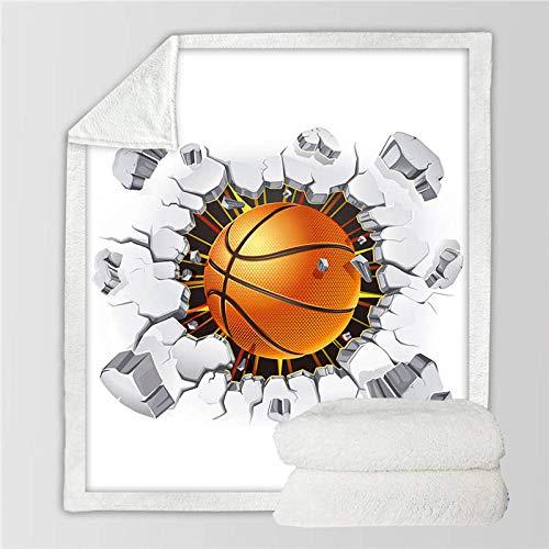 HYSGYP Mantas para Cama Fútbol Baloncesto Ladrillos agrietados Impresión Creativa Sherpa Manta de Tiro Suave Polar Ropa de Cama de Felpa Manta para Adolescentes (A) 130 * 150 CM