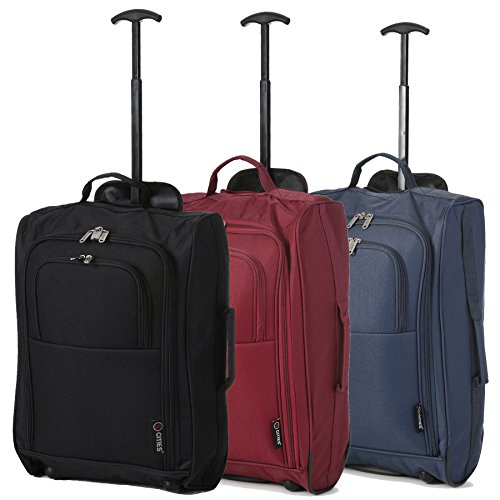 Set of 3 Super Lightweight 5 Cities 21'/55cm Cabin Approved Carry On 2 Wheel Suitcase Trolley Bags Hand Luggage with Sturdy Frame Black/Wine/Navy