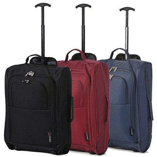 """Set di 3 TROLLEY 21"""" - BAGAGLIO A MANO DA CABINA - VALIGIA LEGGERA, MISURE 55cm - BORSA PER Ryanair, EasyJet, Alitalia, WizzAir e altre. (Nero/Vino/Marina)"""