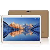 YOTOPT 10.1 Pouces Tablette Tactile - 3G/WiFi, Android 9.0, Quad Core, 48 Go, 4 Go de RAM, Doule SIM, Bluetooth, GPS, OTG - Or