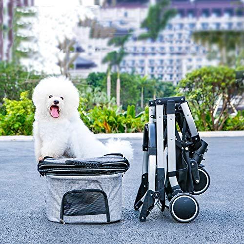 JHG Abnehmbare Pet Stroller, 3 In 1 Multifunktions-Hund Katze Pram Buggy-Kinderwagen Mit 4 Rädern, EIN-klick-Folding, Medium Small Pet Autositz (Color : Gray)
