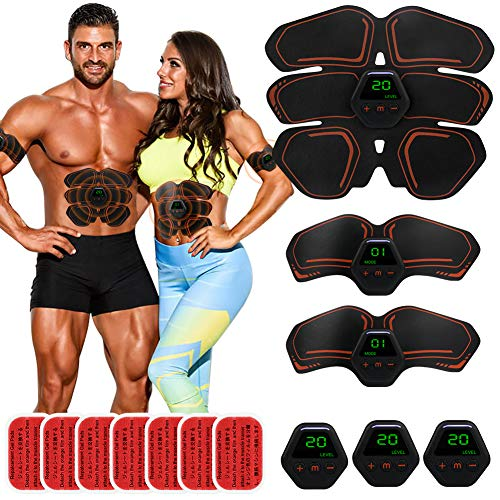 EMS Abdominal Muscle Cordless Abs Muscle Trainer Smart AB Toning Abs Training Home Office Smart EMS Body Abdomen Equipment for Women Men Hip Leg Arm Waist