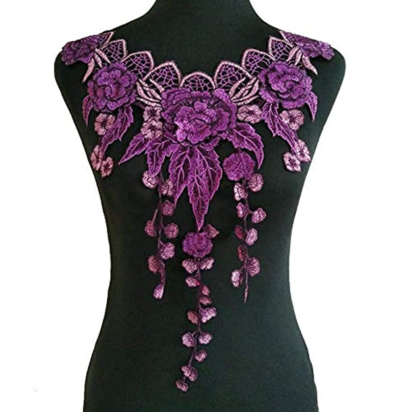 Purple Series Embroidery Rose Flower Lace Neckline Collar Fabric, DIY Lace Fabrics for Sewing Supplies Crafts (Color 2)