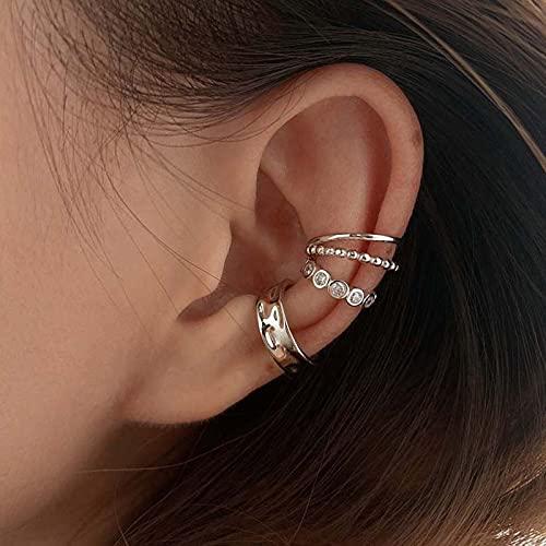 JIUXIAO Pendientes Laterales geométricos de circón sin Orificios para Las Orejas para joyería de Mujer