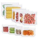 HOMPO Sacchetti Riutilizzabili per Alimenti, 10 Pezzi Biodegradabile Borse Silicone per Alimenti Sacchetti Ermetici Alimenti per Panino, Frutta, Verdura, Carne, Senza BPA