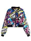 SheIn Women's Fashion Long Sleeve Comic Print Crop Bomber Zipper Jacket Multicoloured X-Large