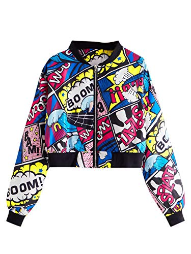 SheIn Women's Fashion Long Sleeve Comic Print Crop Bomber Zipper Jacket Multicoloured Large