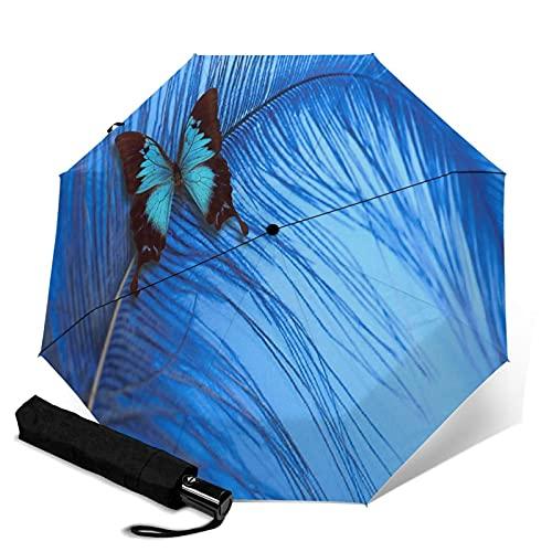 Pengfly Paraguas azul mariposa insecto azul insecto plegable Bug paraguas Bug sombrilla uso a prueba de viento compacto para lluvia al aire libre