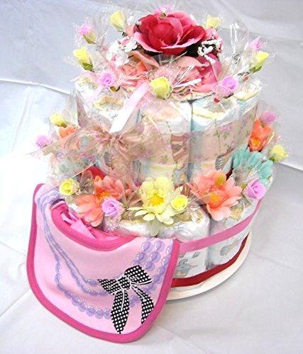 ご出産お祝い <おむつケーキ>リーズナブルなお値段のかわいいおむつケーキ「2段おむつケーキ」(女の子用ピンク系)パンパースS
