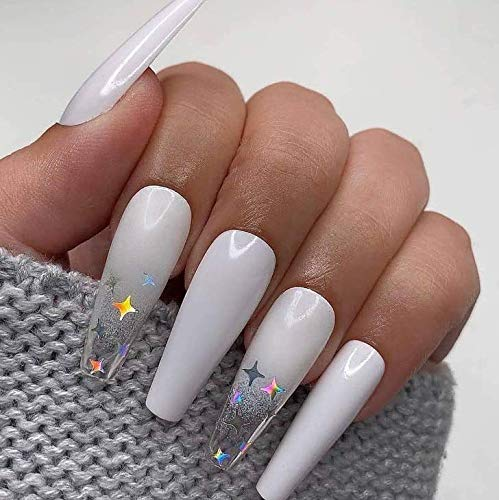 Brishow Sarg Künstliche Nägel Weiß Lange Falsche Nägel Gefälschte Nägel Star Glitter Drücken Sie auf Nägel Ballerina Acryl Stick auf Nägeln 24 Stück für Frauen und Mädchen