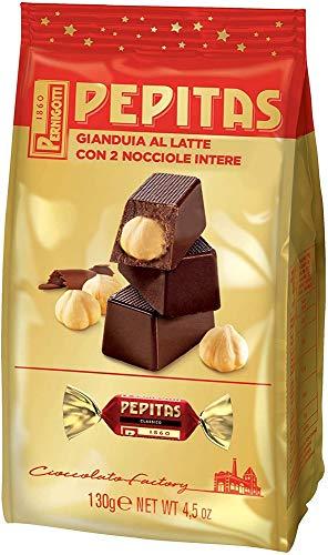 Pernigotti, Sacchetto Torroncini Pepitas Classici, Torrone al Cioccolato Gianduia al Latte con Nocciole Intere, Senza Glutine, 130 gr