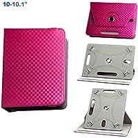 BEISK, Funda Universal para Tablet de 10-10.1 Pulgadas, con Sistema Giratorio de 360º, Rotación, Protección, con Soporte, para Huawei Mediapad/Samsung Galaxy Tab/iPad/Lenovo TAB4 10, Etc. Color Rosa