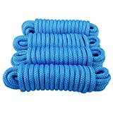Amarine Made Double Braided Nylon Dock Lines 7700 lbs Breaking Strength (L:25 ft. D:5/8 inch Eyelet:15 inch) 4 Pack of Marine Mooring Rope Boat Dock Lines Working Load Limit:1540 lbs