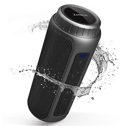Zamkol 5.0 Bluetooth Lautsprecher, 6600mAh Wireless Lautsprecher, IPX6 wasserdichter tragbarer Stereo, 30W Lautsprecher, 360° Bass Sound Bluetooth Speakers, Eingebautes Mikrofon staubdicht Stoßfest