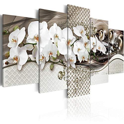 5 piezas de orquídeas flores pintura de pared póster floral lienzo moderno cuadros modulares para la sala de estar dormitorio decoración del hogar + 5 piezas de orquídeas flores pintura de pared
