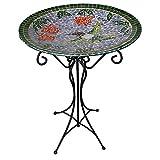 Gardener's Select A14BFG01A Mosaic Glass Bath and Stand, Humming Bird Design