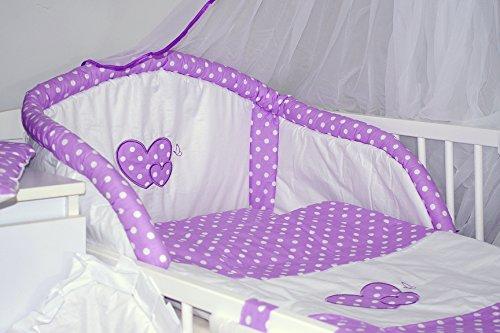 Juego de sábanas para cuna, con diseño de corazones, 3 piezas (12colores) 9 - Violet spots