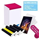 Compatible Canon KP-108IN KP108 3 Color Ink Cartridges and 108 Sheets 4 x 6 inch Paper Set,100 x148mm for Canon Selphy CP1300, CP1200, CP910, CP900, CP760, CP770, CP780,Wireless Compact Photo Printer