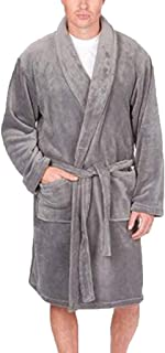 0dba3a8e6e iLXHD Winter Men s Fleece Robe Ultra Soft Plush Shawl Collar 3 4 Length  Long Bathrobe