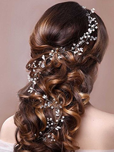 Price comparison product image Unicra Wedding Headpiece Decorative Bridal Headband Hair Vine Hair Piece Accessories for Brides and Bridesmaids(19.7 Inches) (Silver)