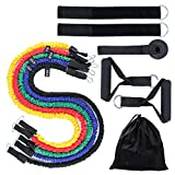 Actume 100 LB Latex Webbing Resistance Bands Set, 5PCS Pull Rope with Elastic Handle, Workout Bands with Handles for Working Out Home Fitness Equipment for Available for Men and Women