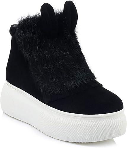 Yanyan Bottes pour Les Les dames Nouvelle Plateforme en Daim d'hiver Bottes de Neige Bottes compensées en Cuir Chaussures à Talons Plats
