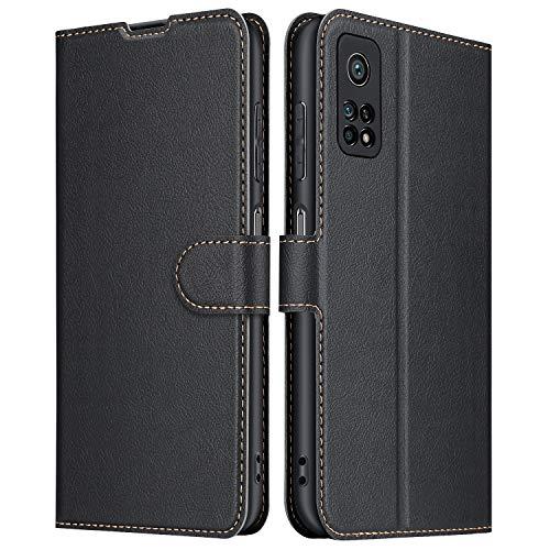 ELESNOW Hülle für Xiaomi Mi 10T 5G/10T Pro 5G, Premium Leder Flip Schutzhülle Tasche Handyhülle mit [ Magnetverschluss, Kartenfach, Standfunktion ] für Xiaomi Mi 10T 5G/10T Pro 5G (Schwarz)