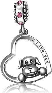 JMQJewelry Heart Dog I Love You Charms 3 Colors & Dog Paw Dangle Bead for Bracelets