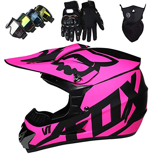 KIVEM Casco Motocross Niño Dot Certificación Casco de Moto para Niños Downhill.Cascos de Cross de Moto Set con Gafas/Máscara/Guantes - con Diseño de Fox - Rosa Mate,M