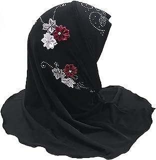 وشاح للبنات المسلمين حجاب مع زهور جميلة أزياء مضادة للأشعة فوق البنفسجية وشاح رأس إسلامي التفاف الرأس للأطفال من سن 2-6