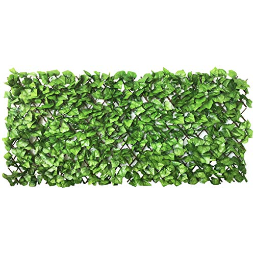 Expandable Faux Ivy Privacy Fence Screen Stretchable Artificial Hedge Single Sided for Balcony Patio Garden (1PC, Grape)…