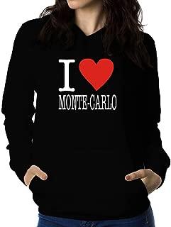 Teeburon I Love Monte Carlo Typewriter Style Women Hoodie