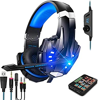 Voice Changer Gaming Headset with Mic for Xbox One,PC,PS4,Over-Ear Headphones with Volume Control LED Light Cool Style Stereo,Noise Reduction for Phone/PS4/Xbox/Switch/IPad/Computer/Kids