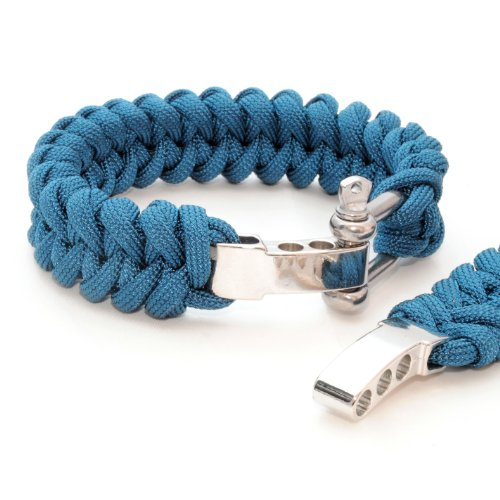 'Set of 2 Bracelet Braided) Compact Universal Survival Rope Made of tear-resistant Parachute Cord/Paracord 550 Cord (Xmas Core Rope Nylon) and Cast Adjustable Metal Screw Clasp, Length 23 cm, Colour:: Blue Note: This Paracord Rope is not suitable for Climbing - Ganzoo by Ganzoo