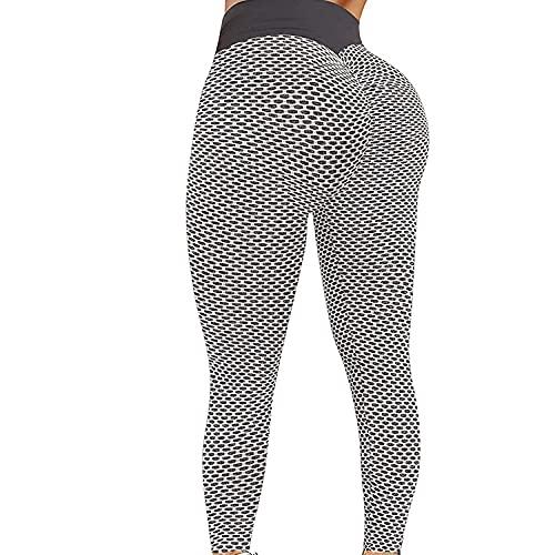 MLLM Ideal para Danza Correr Trotar Ejercicio,Pantalones de Yoga de Culturismo de Nido de Abeja, Pantalones Deportivos Ajustados de Cintura Alta-Gris_XS, Leggings Fitness No Transparenta