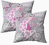 Fundas de almohada para cama, diseño de círculo de vaca loco con ruedas de bicicleta estilizadas, humorísticas, fundas de almohada de 45,7 x 45,7 cm, fundas de almohada para sofá