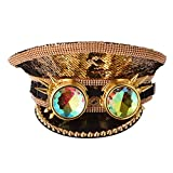GRACEART Women's Steampunk Gay Pride Military Captain Hat Lolita Rhinestone Caps with Goggles (Style-06)