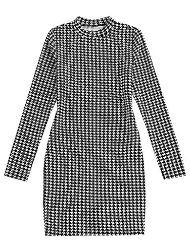 ZAFUL Vestido de mujer a cuadros Houndstooth Bodycon Mini vestido de manga larga ajustada Paso de grifo. XL