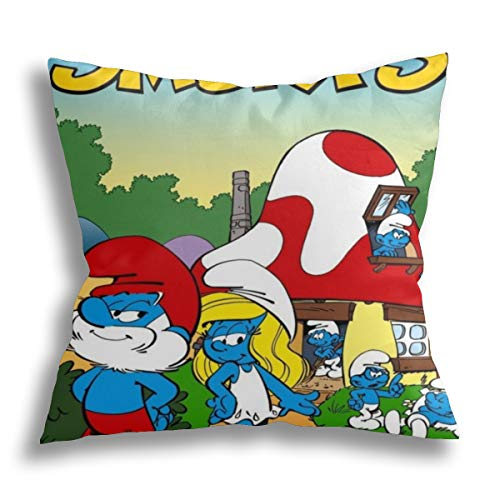 The Smurfs Cushion Covers 18x18 Inch Throw Pillow Cases 45x45 cm Cotton Linen Decorative Creative Sofa Pillowcases Home Decor Cushion Covers for Living Room Garden Couch