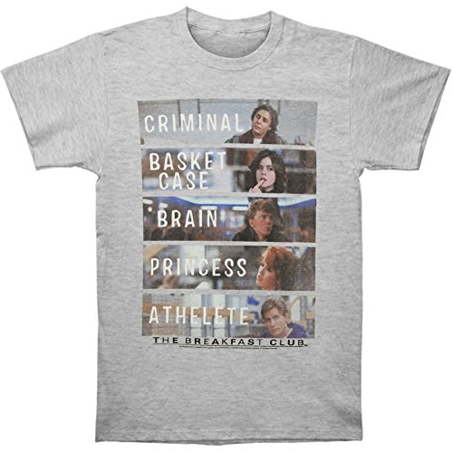 Men's The Breakfast Club Characters Tee, Heather Gray, S to XXL