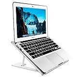 Soundance Aluminum Laptop Stand Adjustable, Compatible with Apple Mac MacBook Notebook, Ventilated Portable Ergonomic Desktop Holder Riser for Office Desk, Metal Silver AS1