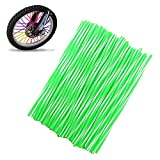 72Pcs/Lot Spoke Skin Covers, DIXIUZA Universal Protective Wheel Coil Wraps for Motorcycle Off-road SUV Bicycle (Green&White)